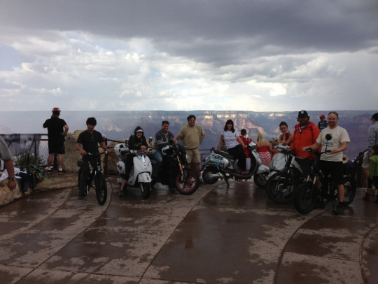 The Ride the Future crew and I on our electric vehicles at the edge of the Grand Canyon