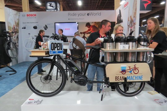 xtracycle bosh edgerunner electric cargo bike coffee