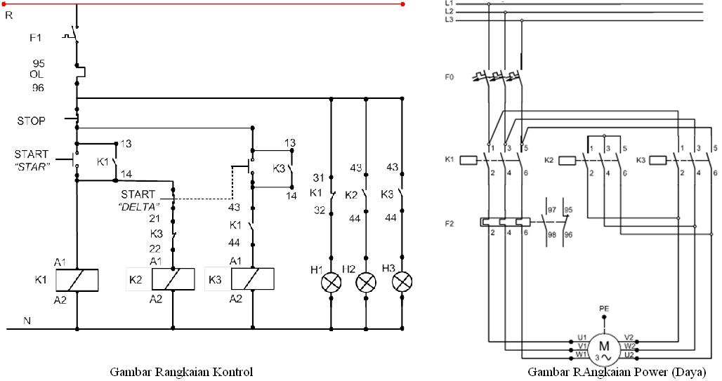 wiring diagram kontrol star delta
