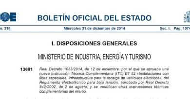 Real Decreto 1053/2014, por el que se aprueba la ITC BT-52.