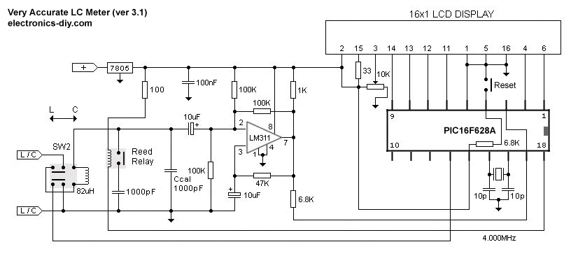 Very Accurate LC Meter based on PIC16F628A