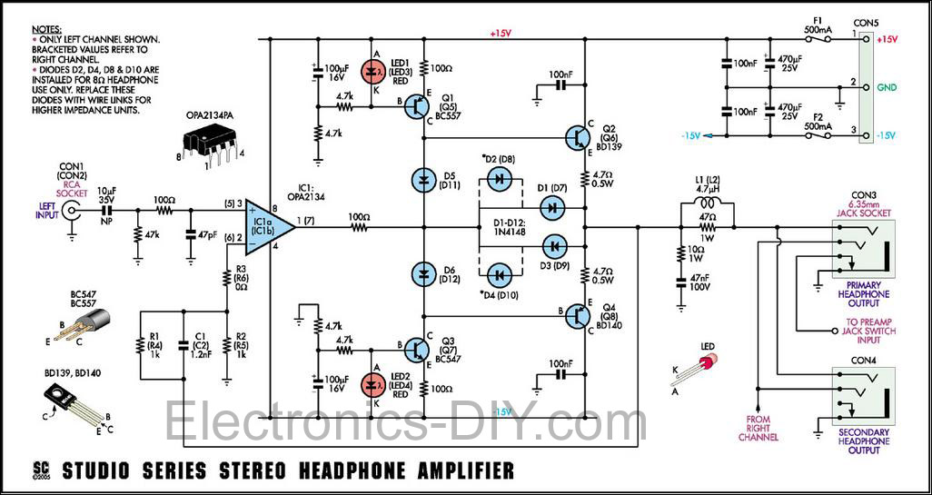 stereo headphone amplifier circuit