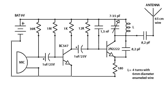 fm bug spy transmitter circuit