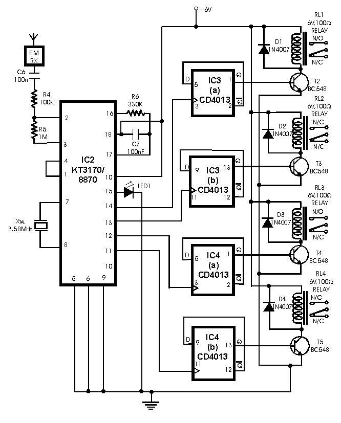 remote unit receiver circuit schematic using tda7000