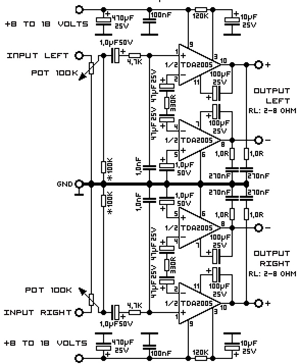 power audio amplifier schematics with tda2005