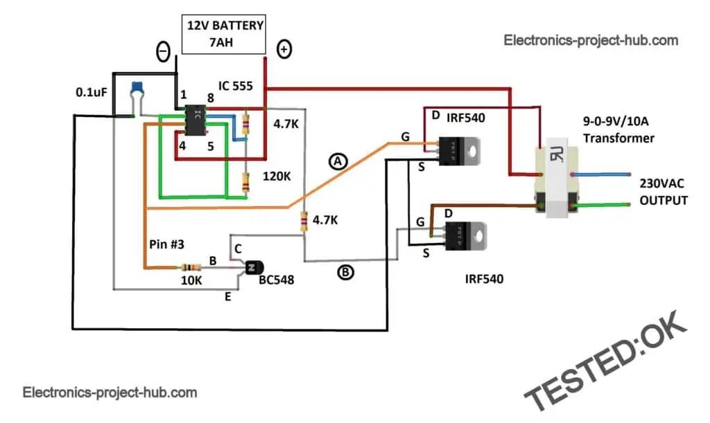 IC 555 Inverter Circuit Diagram \u2013 DIY Electronics Circuit Projects