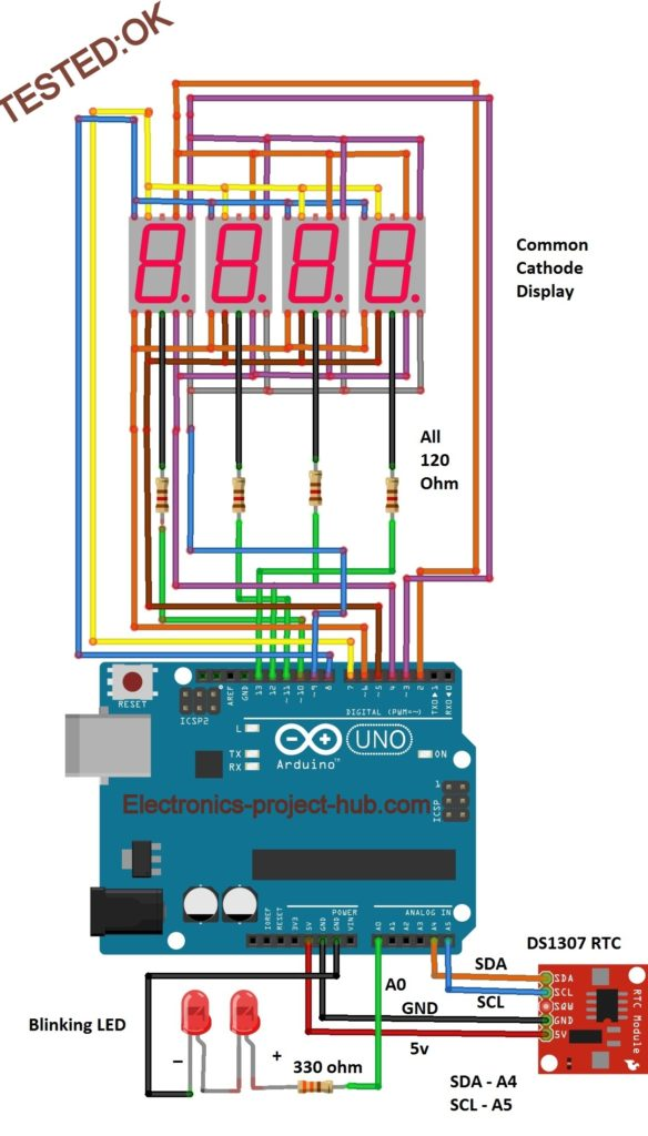Arduino 7 Segment Display Clock With and Without RTC \u2013 DIY