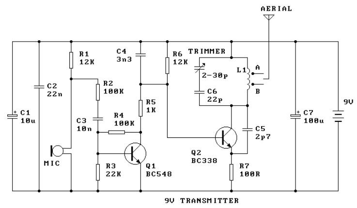 9V FM Radio Transmitter Electronic Schematic Diagram