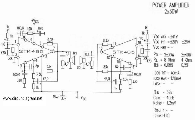 2 x 30W Audio Amplifier with STK-465 Electronic Schematic Diagram