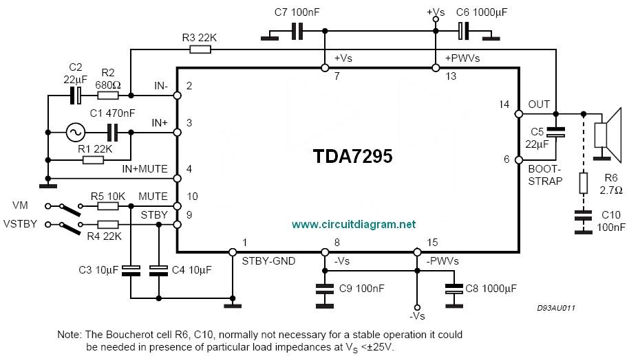 80W Audio Amplifier Using TDA7295 Electronic Schematic Diagram