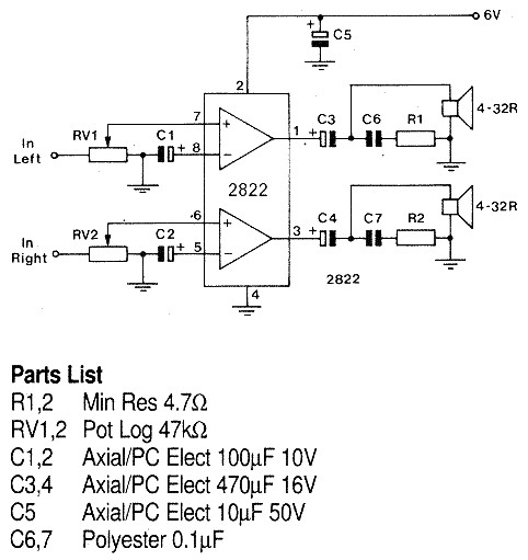 tda2822 audio amplifier circuit diagram