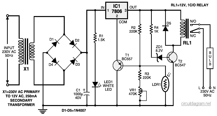 Automatic Light Controller Electronic Schematic Diagram