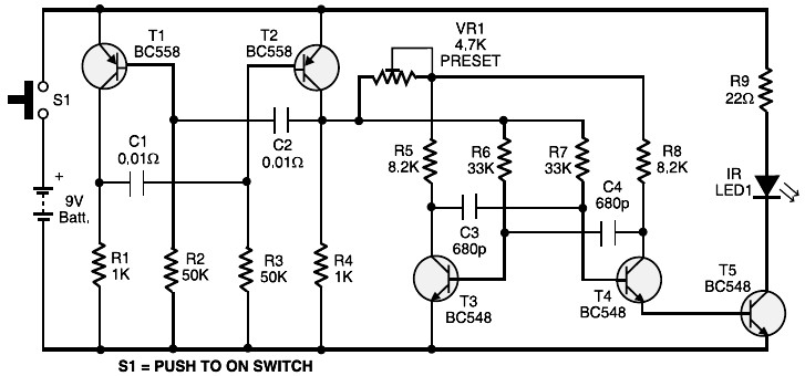 infrared remote switch transmitter circuit
