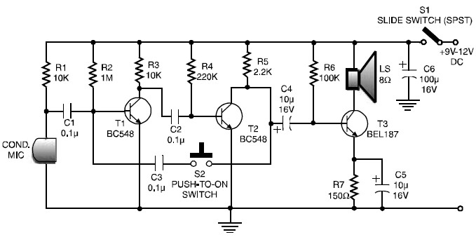 low cost and simple intercom circuit diagram