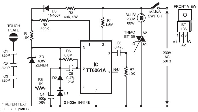 incandescent lamp touch control circuit diagram