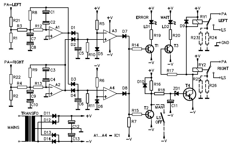 Speaker Protection Circuit (Stereo) Electronic Schematic Diagram