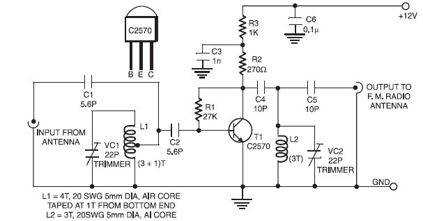 Active FM Booster Electronic Schematic Diagram