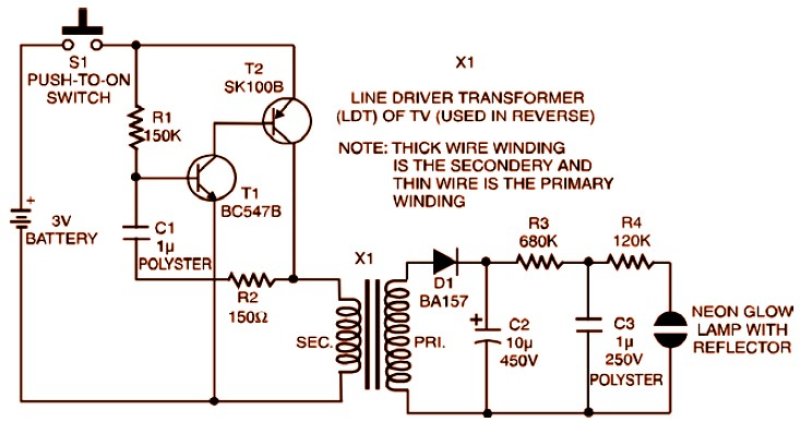 3V Strobe Light Miniature Electronic Schematic Diagram