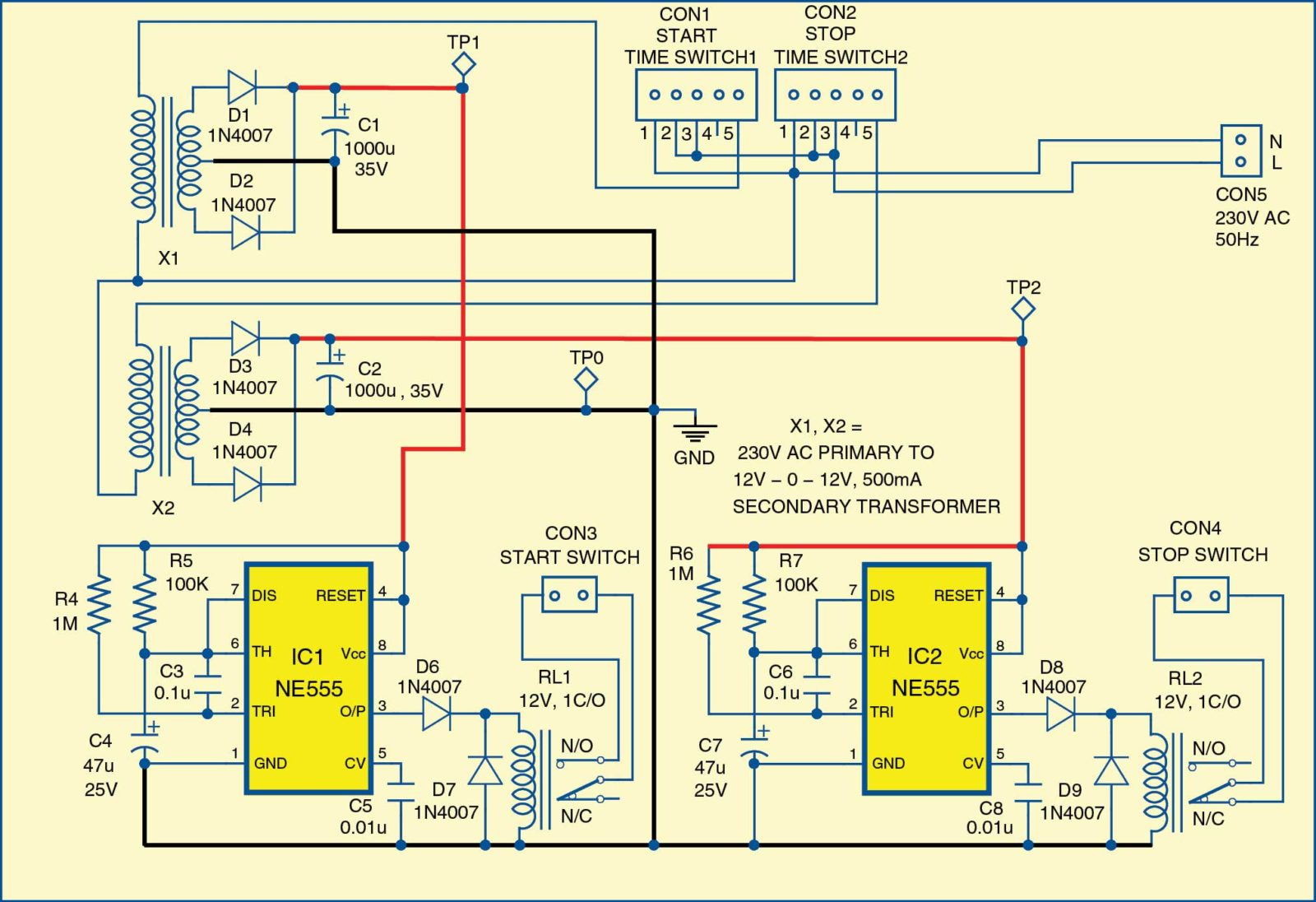 three wire power circuit diagram