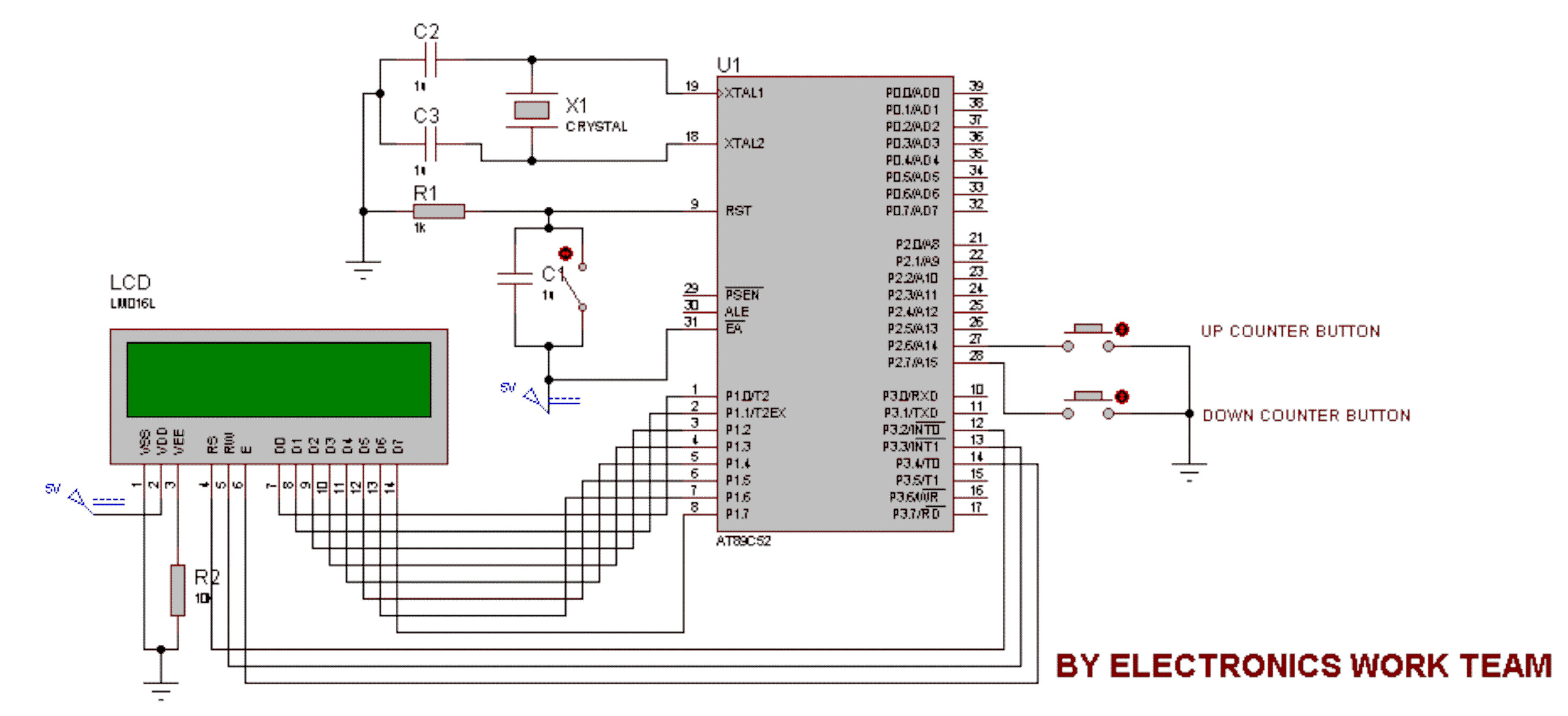 8051 Microcontroller Based Frequency Counter Auto Electrical Color Sensor Circuit1 Circuit With At89s52 Adc0808 Up