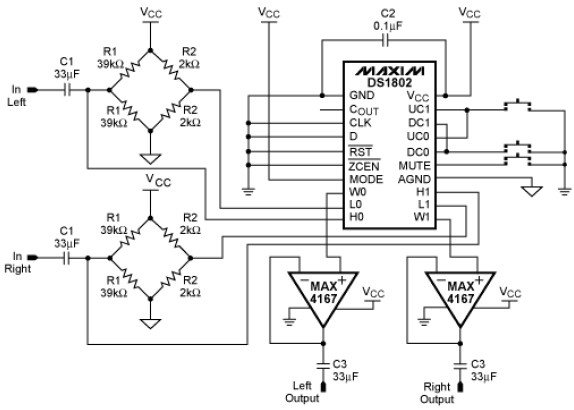 voltage controlled volume electronic circuits