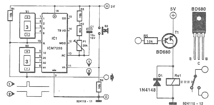 icm7250 timer circuit electronic project