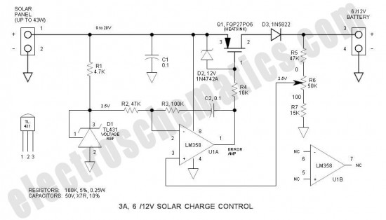 3a solar charge control circuit schematic