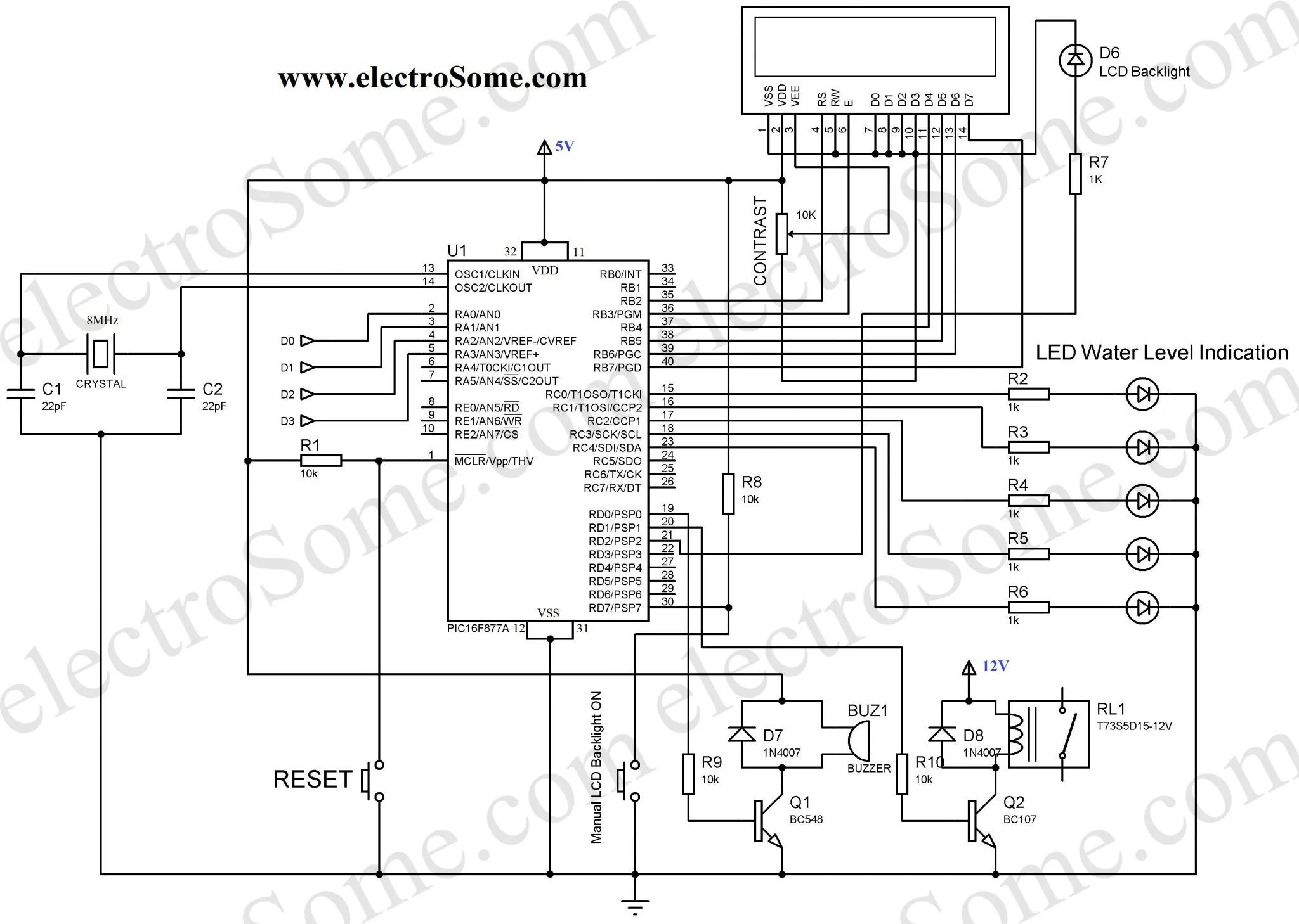 water tank level indicator circuit diagram