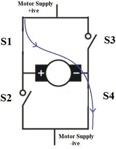 dc motor clockwise anticlockwise control hbridge circuit electronic