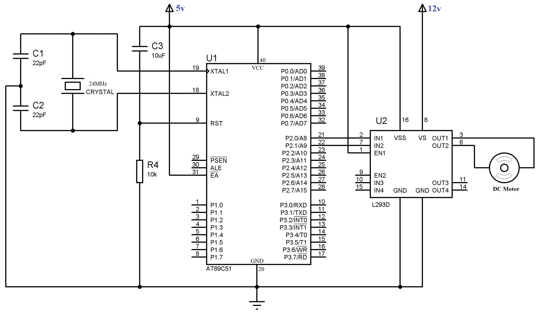 interfacing dc motor using l293d circuit schematic