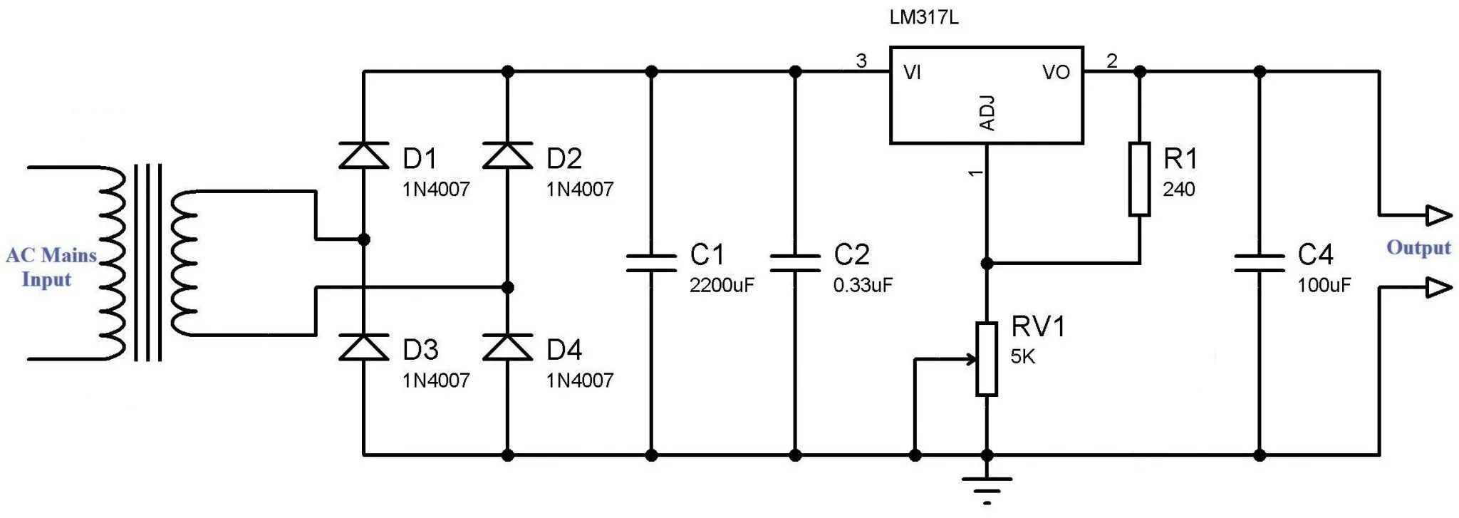 regulated power supply using 741 and 2n3055