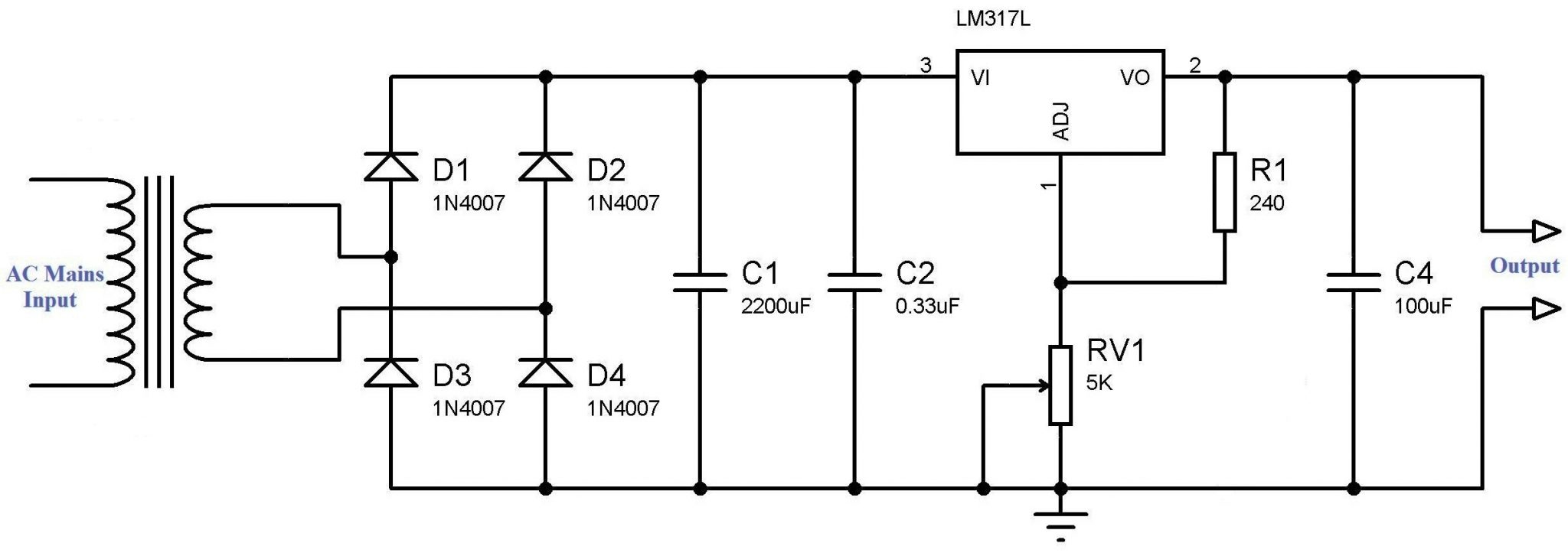 circuit diagram of power supply using lm317