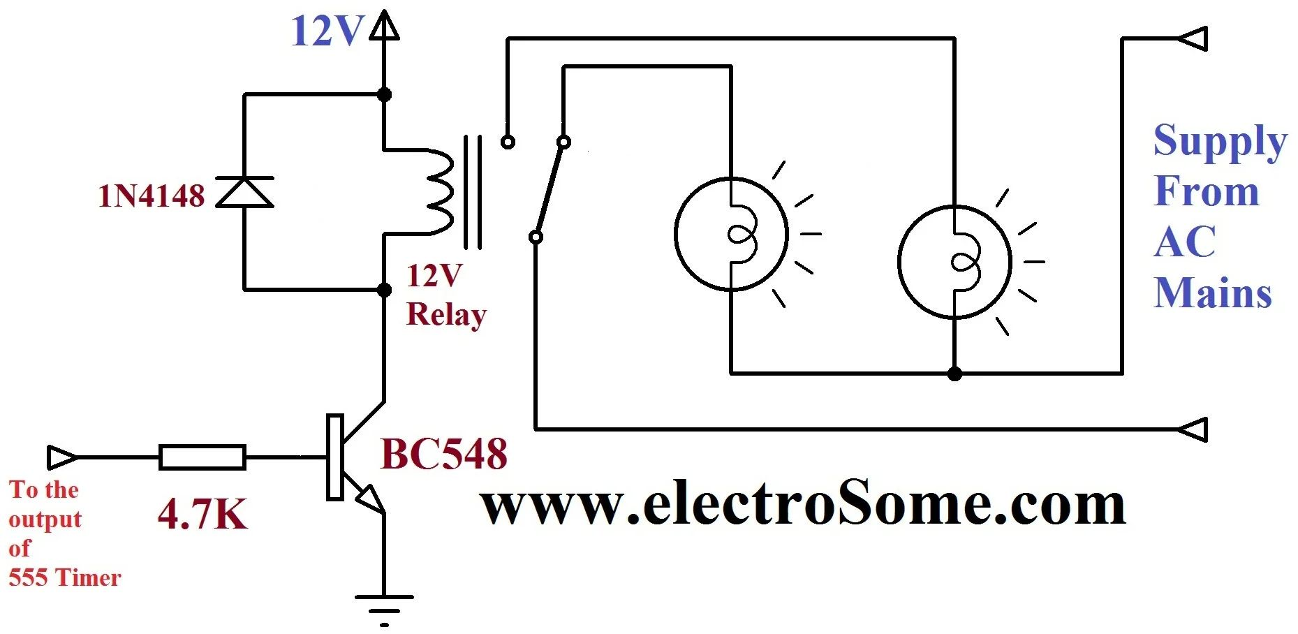 dancing light using 555 timer circuit diagram