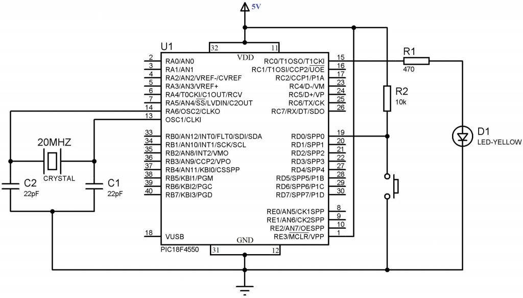 led blinking with pic microcontroller mplab xc8 compiler