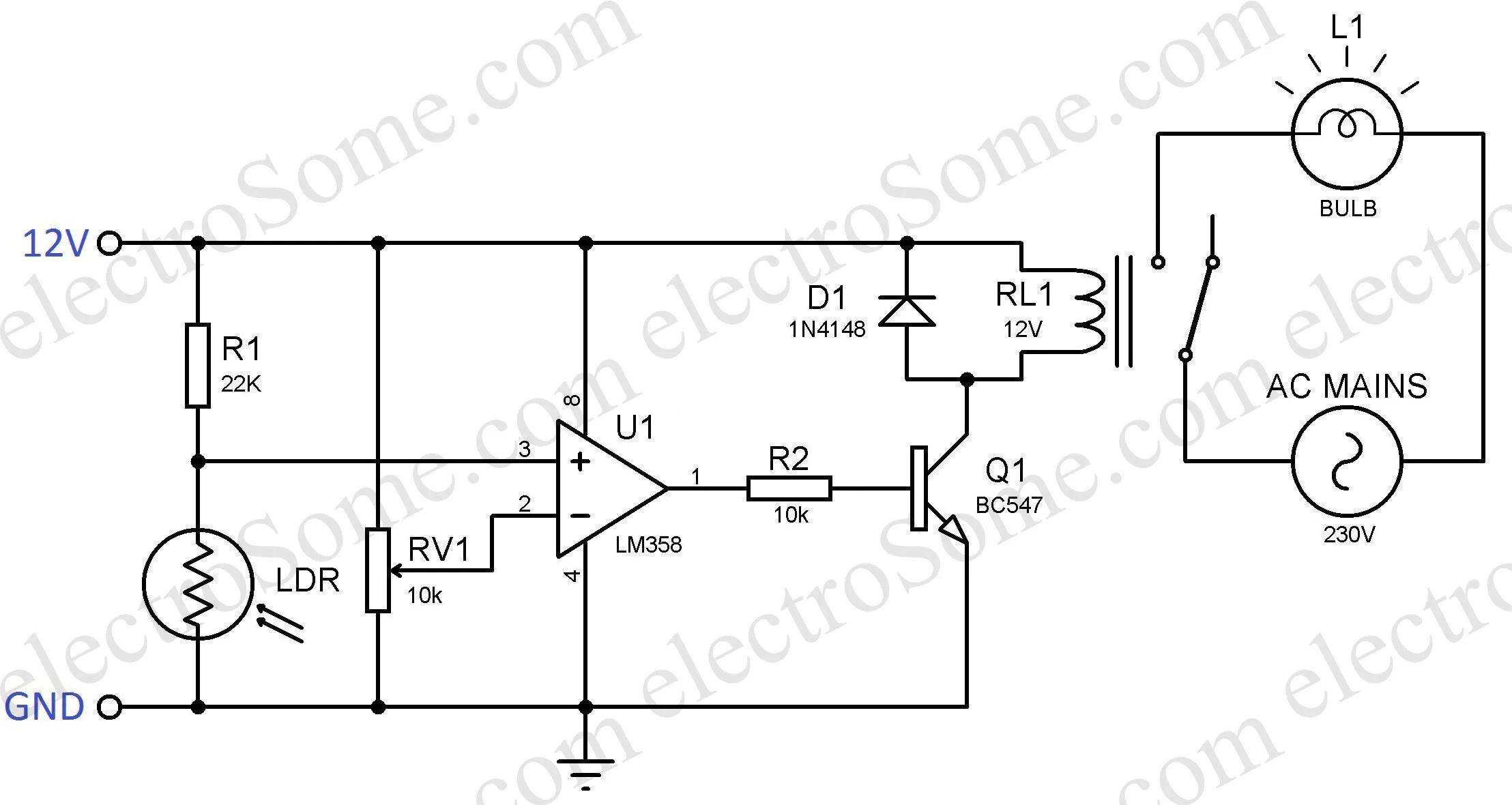 the circuit schematic diagram of table lamp using ic 555