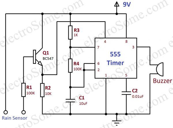 rain alarm using 555 timer circuit diagram