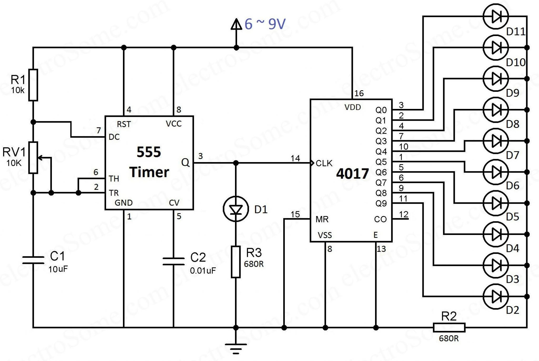 led chaser using 4017 counter and 555 timer