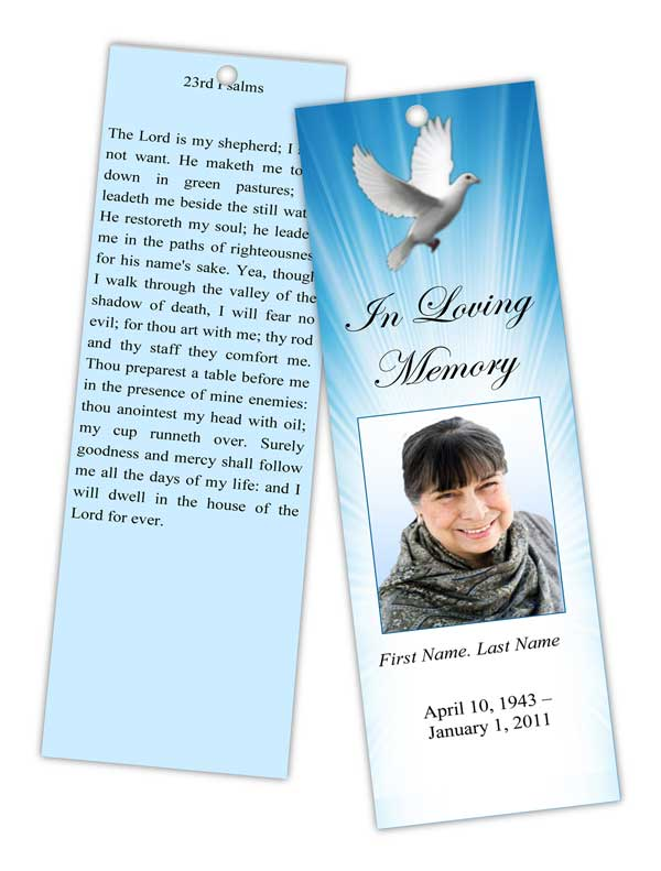 Memorial Bookmark Templates Funeral Bookmarks Obituary Bookmark - free memorial template