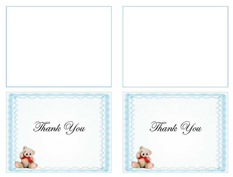 Blue Teddy Bear Thank You Card Template - Elegant Memorials