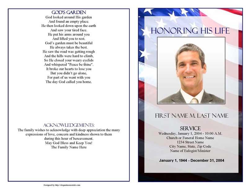 Patriotic (US) Funeral Program Template - Graduated Fold - Elegant