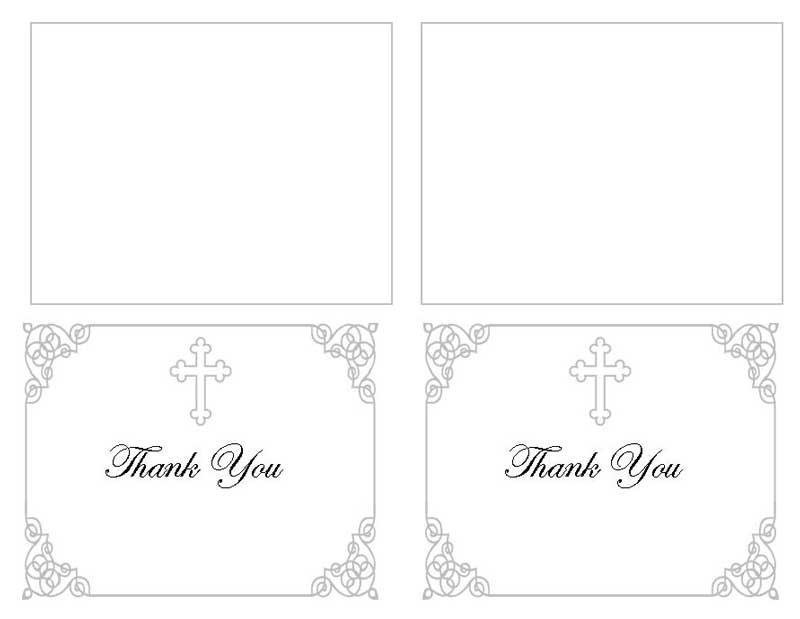 Grey Ornate Cross Thank You Card Template - Elegant Memorials