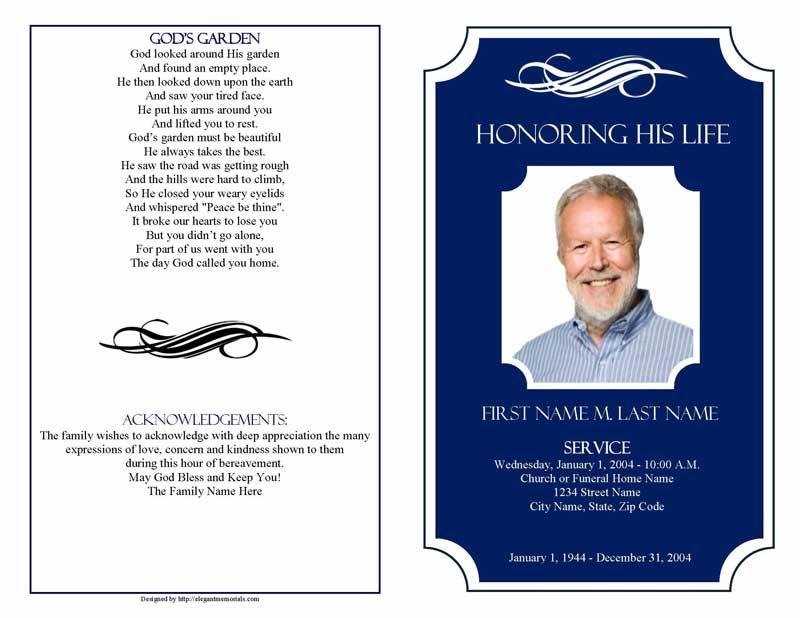 Memorial Plaque Large Funeral Program Template - Elegant Memorials
