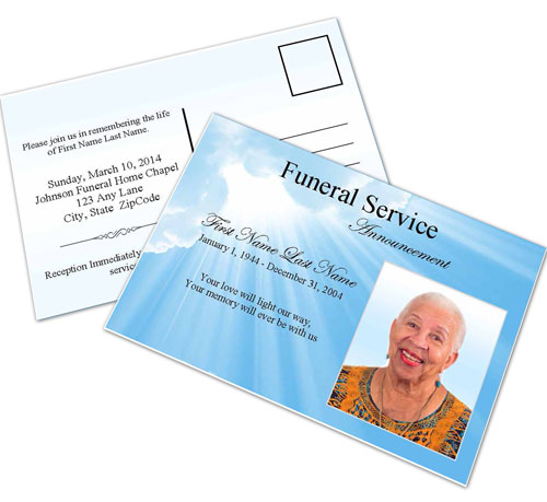 Blue Sky Funeral Announcement Template - Elegant Memorials