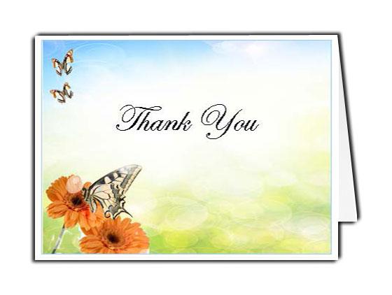 Beautiful Butterfly Thank You Card Template - Elegant Memorials