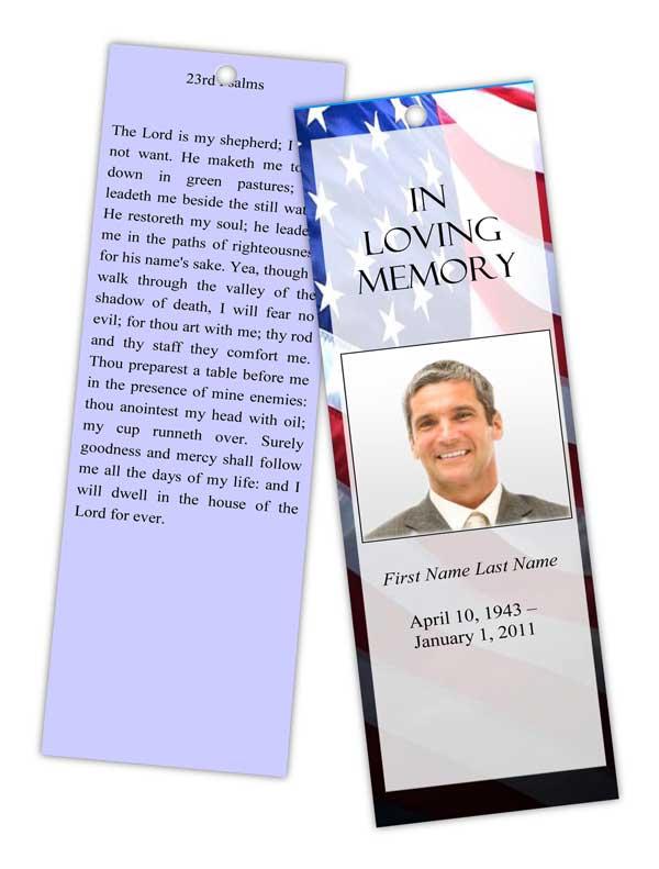 Patriotic (US) Bookmark Template - Elegant Memorials