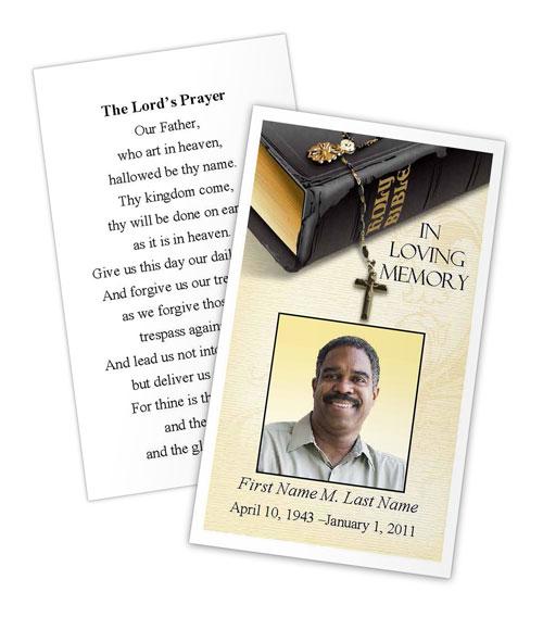 Bible Memories Memorial Prayer Card Template - Elegant Memorials
