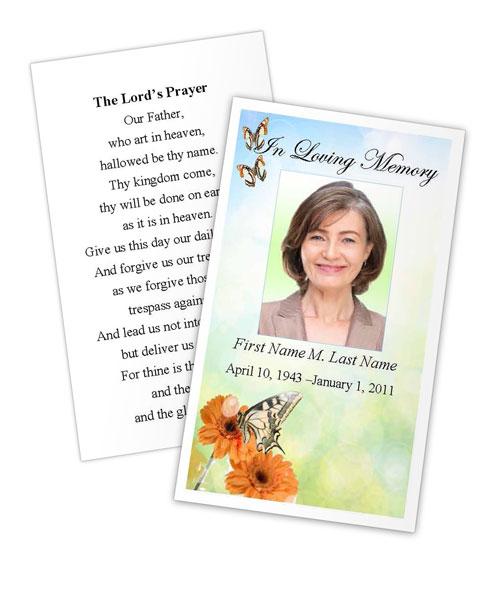 Beautiful Butterfly Memorial Prayer Card Template - Elegant Memorials