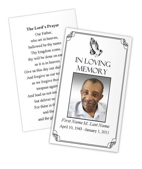 Praying Hands Memorial Prayer Card Template - Elegant Memorials