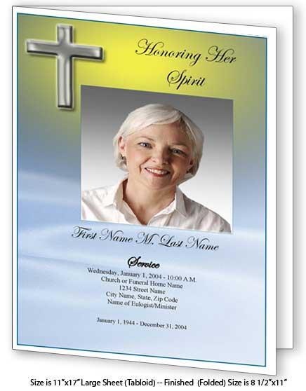 Blue Eternal Large Funeral Program Template - Elegant Memorials