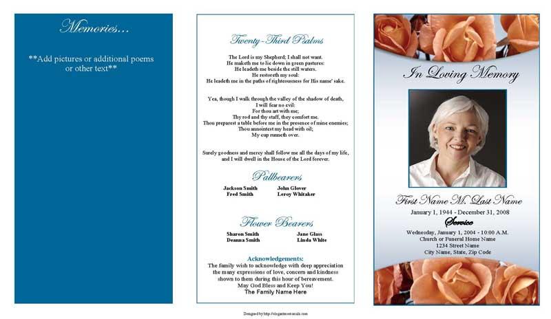 Memorial Roses Trifold Funeral Program Template - Elegant Memorials